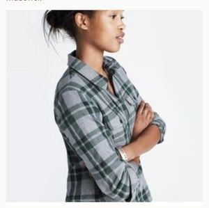 Madewell flannel half zip collared shirt